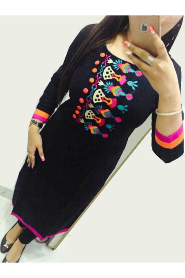 Office Wear Black Georgette Kurti - 108055