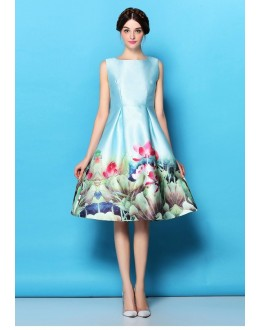 Party Wear Readymade Sky Blue Satin Western Wear Dress - 101021
