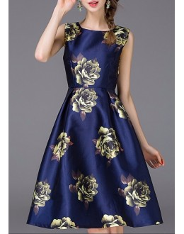 Fancy Readymade Dark Blue Satin Western Wear Dress - 101022