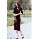 Party Wear Maroon Velvet Western Wear Dress - 102083