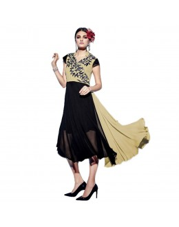 Designer Black & Cream Georgette Kurti - 1890221