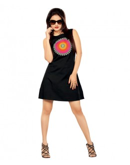 Designer Black Short Pure Georgette Kurti - 3352137