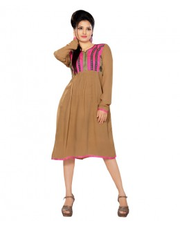 Designer Brown Pure Georgette Anarkali Kurti - 3352138