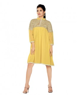 Designer Yellow Pure Georgette Kurti - 3352139