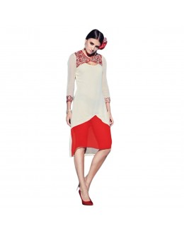 Party Wear Cream & Red Georgette Kurti - 1890218