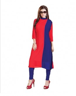Party Wear Fancy Red & Blue Long Kurti - 1890244