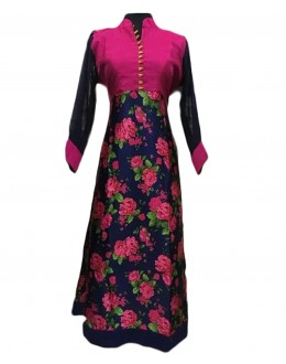 Party Wear Floral Bhagalpuri Silk Kurti - 1890216