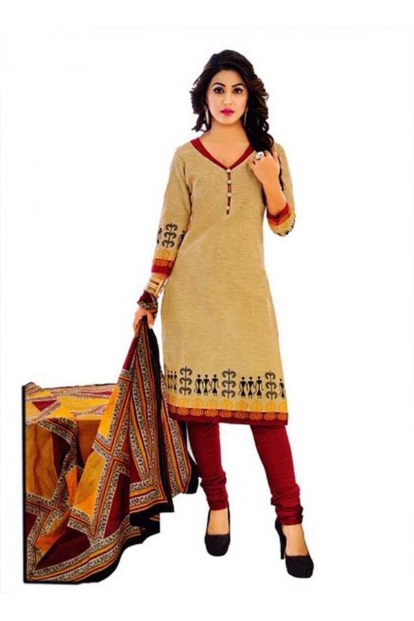 Cambric Cotton Beige Churidar Suit Dress Material - 5490531