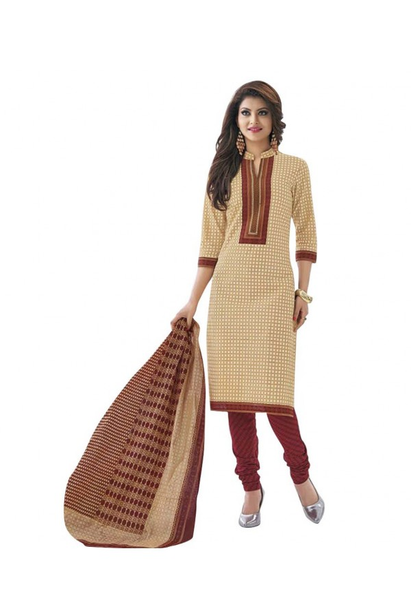 Cambric Cotton Beige Churidar Suit Dress Material - 5490533