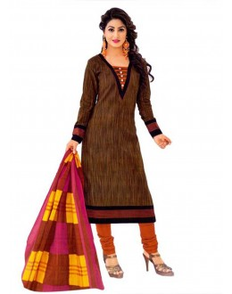 Cambric Cotton Brown Churidar Suit Dress Material - 5490523