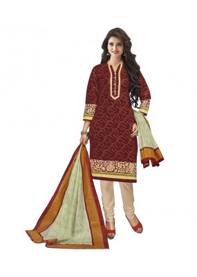 Cambric Cotton Light Brown Churidar Suit Dress Material - 5490536