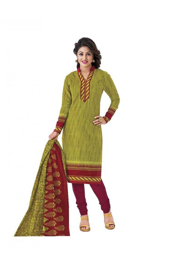 Cambric Cotton Light Green Churidar Suit Dress Material - 5490504