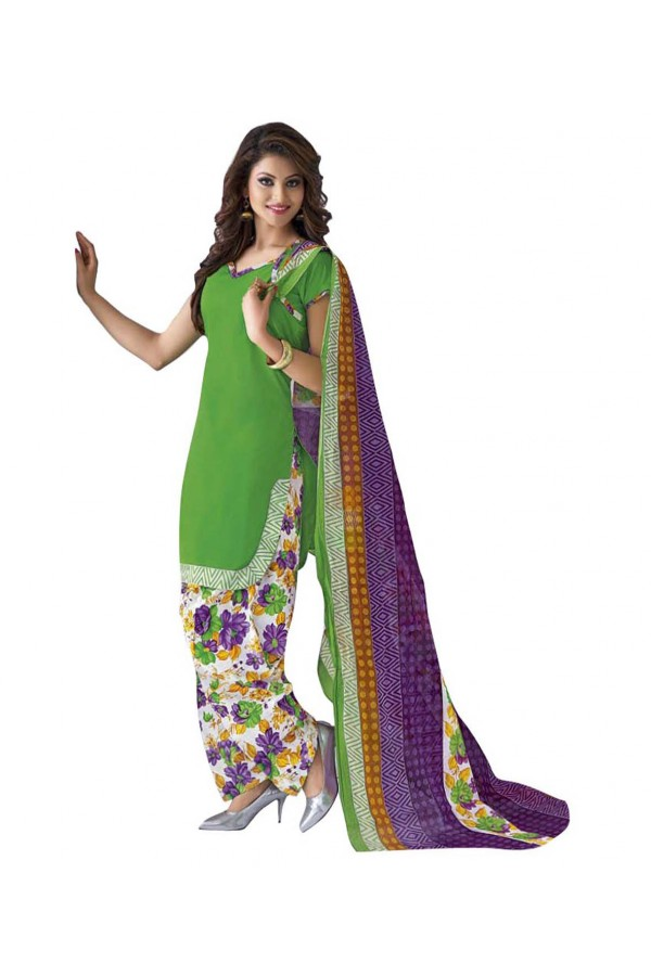 Cambric Cotton Light Green Churidar Suit Dress Material - 5490511