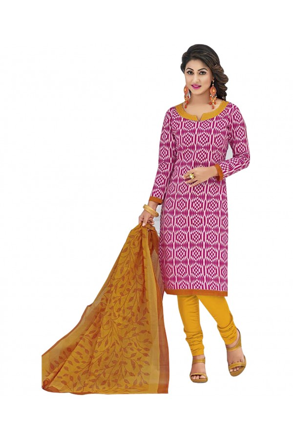Cambric Cotton Pink Churidar Suit Dress Material - 5490506