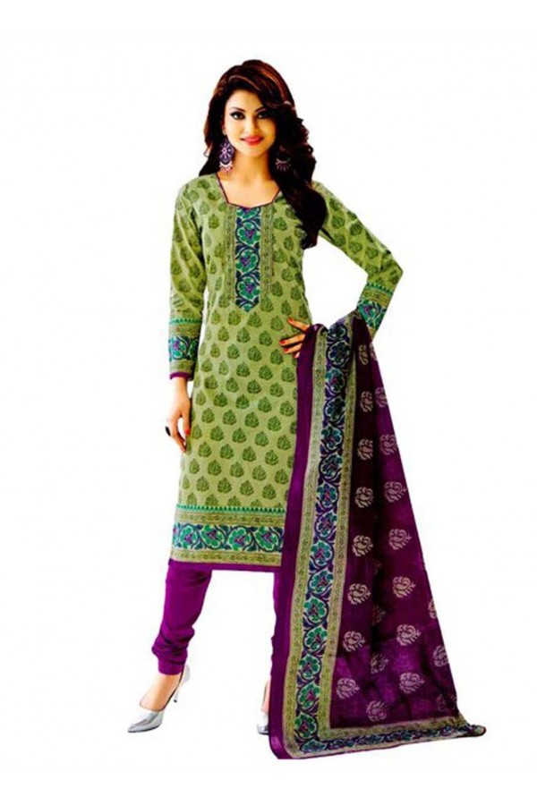 Cambric Cotton Pista Green Churidar Suit Dress Material - 5490530