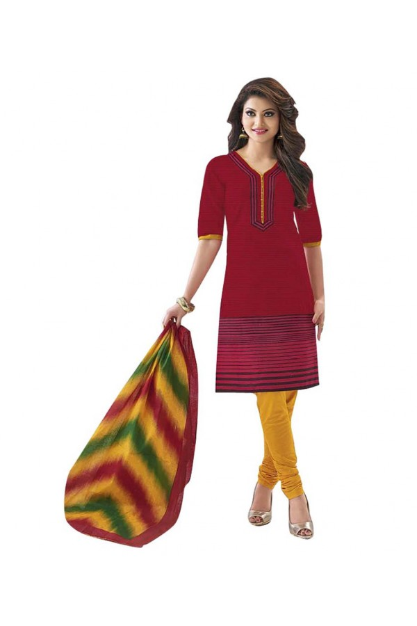Cambric Cotton Red Churidar Suit Dress Material - 5490512