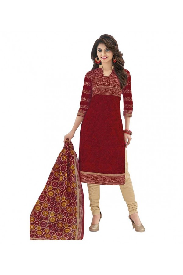 Cambric Cotton Red Churidar Suit Dress Material - 5490527