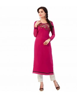 Casual Wear Faux Georgette Pink Kurti - 45026