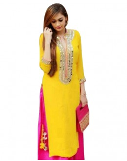 Party Wear Georgette Yellow Kurti - 108032