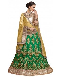 Traditional Wear Green Net Lehenga - Aakira 321208