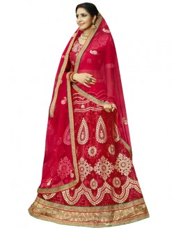Party Wear Red Net Lehenga Choli - 23004