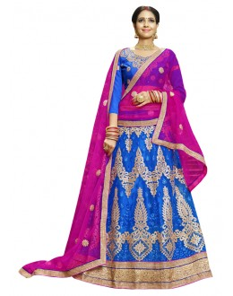Festival Wear Blue Net Lehenga Choli - 23008