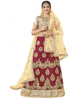 Wedding Wear Maroon Net Lehenga Choli - 19001