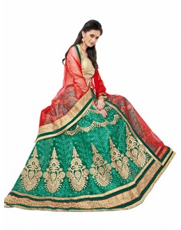 Ethnic Wear Green & Red Net Lehnega Choli - DELL QUEEN5904