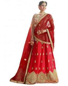 Traditional Wear Red Banglori Silk Lehenga Choli - 28001