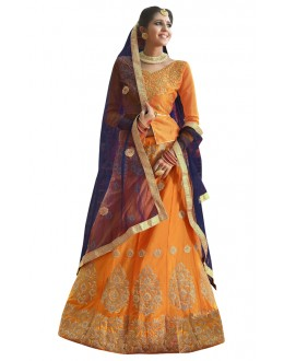 Party Wear Orange Banglori Silk Lehenga Choli - 28003