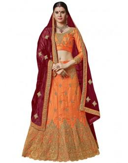 Ethnic Wear Orange Banglori Silk Lehenga Choli - 25001