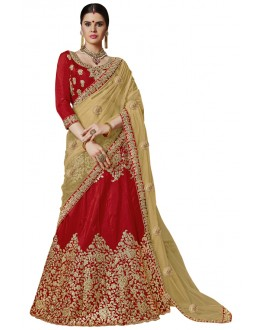 Festival Wear Red Banglori Silk Lehenga Choli - 25003