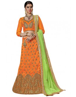 Party Wear Orange Banglori Silk Lehenga Choli - 25005
