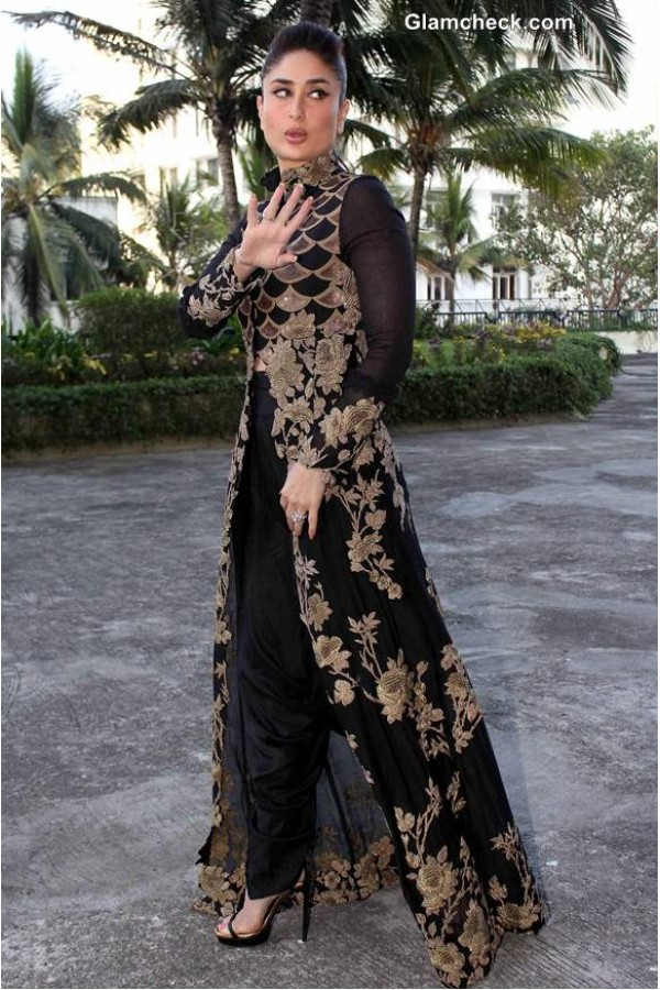 Bollywood Replica Kareena Kapoor In Anamika Khanna Black And Gold Outfit With Back Embroidery