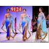 Bollywood Replica - Mandira Bedi Royal Blue, Golden and Turquosie Georgette Saree - 9124 (IB-372)