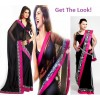 Bollywood Replica - Deepika Padukone Yeh Jawani Hai Deewani Black and Pink Saree - 1312