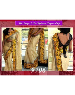 Bollywood Replica - Designer Beige Chanderi Silk Saree - 9706