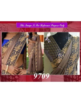 Bollywood Replica - Designer Beige Party Wear Saree - 9709
