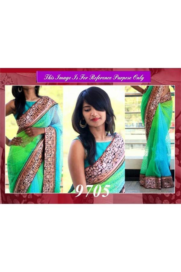 Bollywood Replica - Designer Neon Green & Blue Saree - 9705