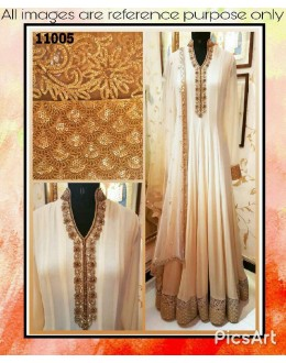 Bollywood Inspired : Wedding Wear White Pure Georgette Anarkali Suit -  11005
