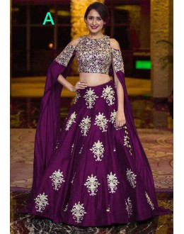 Bollywood Style - Party Wear Purple Crop Top Lehenga - 9118-A