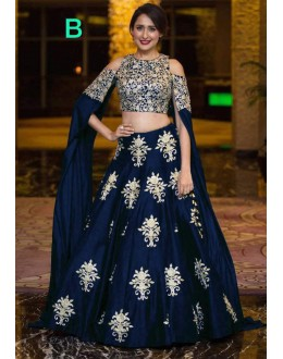 Bollywood Style - Party Wear Blue Crop Top Lehenga - 9118-B