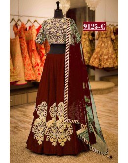Bollywood Style - Wedding Wear Red Tapeta Silk Lehenga Choli  - 9125-C