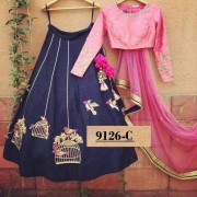 Bollywood Style - Party Wear Pink & Dark Blue Lehenga Choli  - 9126-C