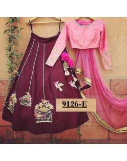 Bollywood Style - Party Wear Pink & Magenta Lehenga Choli  - 9126-E