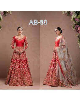 Bollywood Inspired - Wedding Wear Red Embroidered Gown - AB-80