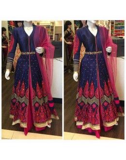 Bollywood Inspired  - Wedding Wear Blue & pink Lehenga Suit - AB-84