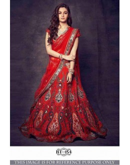 Bollywood Style - Alia Bhatt In Designer Red Lehenga Choli  - BT-154