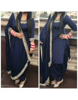 Bollywood Inspired : Party Wear Navy Blue Cotton Patiala Suit - 524