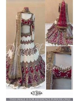 Bollywood Style - Wedding Wear White Embroidered Lehenga Choli - KT-2066